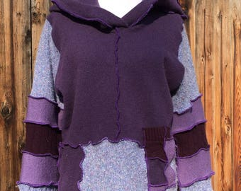 Upcycled wool sweater, XL sweater, sweater hoodie, purple sweater, recycled sweater, eco fashion, purple patchwork, purple pullover