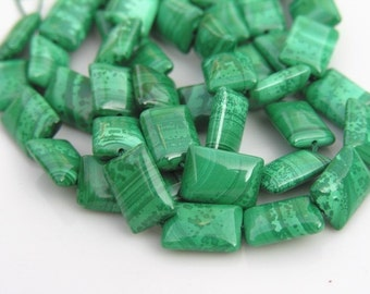 Malachite Chicklet Tablet Beads 10x14mm