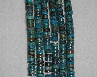 Turquoise, Turquoise Heishi, 11 mm, Chunky Heishi, Natural Stone, Semi Precious, Blue Green, Organic Turquoise, Half Strand, AdrianasBeads