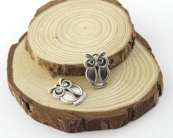 25pcs 15x21mm antique silver retro style owl charm pendant