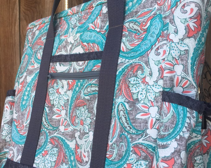 Tote Bag with Pockets, Teacher Tote, Nurse Bag, Tote Bag with Zipper, Diaper Bag, Work Tote, Professional Tote, Paisley Kitchen Sink Tote