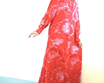 Red 70s maxi dress, DONCASTER maxi dress, 60s hostess gown, psychedelic pattern,Long sleeve tent dress,Long chiffon dress, 1970s maxi dress