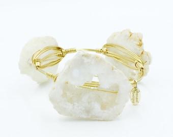 White druzy bangle bracelet raw druzy druzy bridal jewel cream druzy cuff bangle