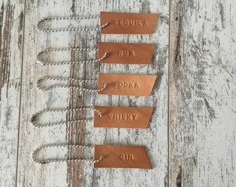 Leather Decanter Label Tag, Liquor Bottle Tag, Party Accessories, Tags for Vodka, Gin, Rum, Tequila, Whisky, Set of Five
