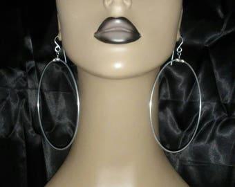 Beautiful Large Round Hoop Earrings, Women Earrings, Large Earrings, Silver Color Earrings, Big Earrings, Fashion Earrings, Wire Earrings
