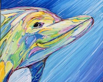 Happy Dolphin, 10x10 Original Painting
