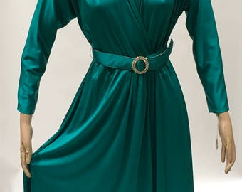 70s Wrap Dress Emerald Green Rhinestone Belt Vintage Size 12 Career Special Occasion New With Tags