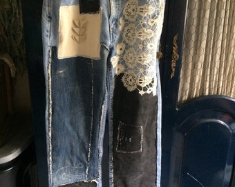 up cycled denim, patched up jeans, art to wear, urban funky, bohemian, trendy patchwork jeans, reworked Levis, size 34, high waisted