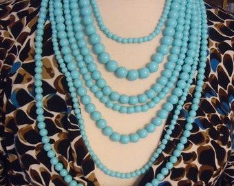 Collier avec fermoir en métal doré et chaîne de rallonge, collier Multi perles Vintage 7 brins en acrylique Bleu Turquoise