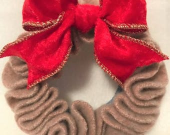 Felted Wool Wreath // Camel with Red Bow