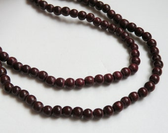 Chocolate Brown wood beads round 6mm full strand eco-friendly Cheesewood 9434NB