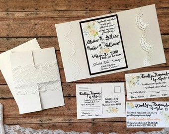 Unique wedding invitation, pocketfold wedding invitation, handmade pocket invitation, ivory boho invitation, lace invitation, DIY wedding