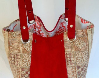 Luxurious Red Suede & Chenille Expandable Carpet Bag Handmade.