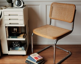 Marcel Breuer Made in Italy B32 Wicker and Chrome Chair