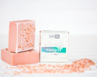 Pink Himalayan Salt Soap, Salt Bar, Essential Oils Soap, Pink Clay Soap, Lemongrass Eucalyptus Clay & Salt Bar, Vegan Soap, Salt Soap