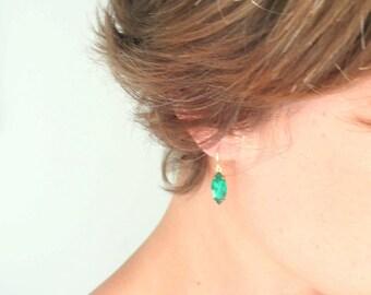 Emerald earrings Green earrings Green glass earrings Green birthstone earrings May birthstone earrings Vintage cut glass emerald dangles