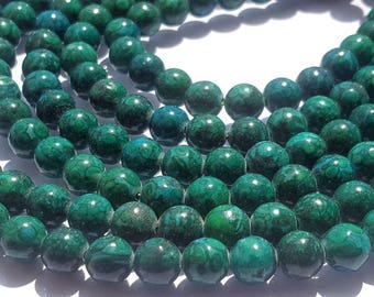 Azurite round smooth beads.Size -6 m m-Strand 15 inches long