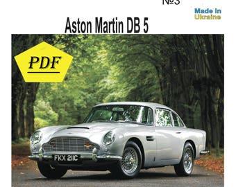 Paper Model Kit, Aston Martin Db5, 3D Model,PDF, PRINTED, Martin, Aston, Car,  Diy How To Make, Origami, Pepakura Kit