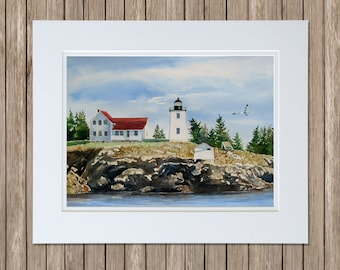 Maine Lighthouse Painting - Hockamock Head Light - Swans Island Lighthouse - Burnt Coat Harbor Light Station - Maine Paintings