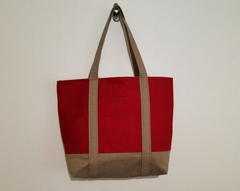 Tote Bag / Upcycled / Red / Brown