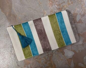 The Medium Clutch - Stripe Zippered Clutch with Tassel