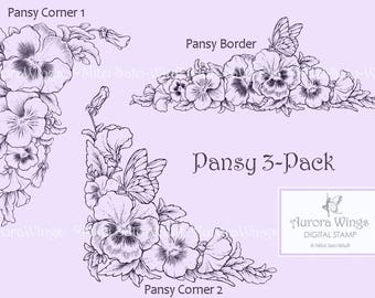 Digital Stamp Instant Download - Pansy 3-Pack - digistamp - Border and Corners - Floral Line Art for Cards & Crafts by Mitzi Sato-Wiuff