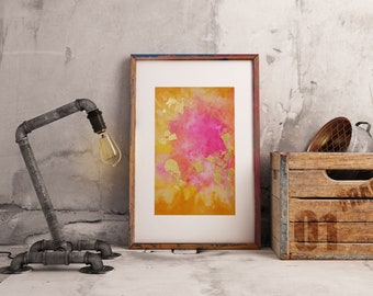 Abstract Painting Print 7 x 10 inches watercolor and gold foil