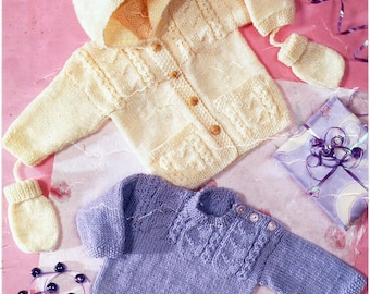 """baby sweater hooded jacket knitting pattern PDF download baby cable jumper cardigan with hood 14-22"""" DK light worsted 8ply instant Download"""