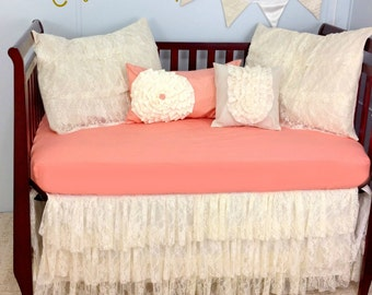 Baby Bedding Crib Bedding - Shabby Chic, Vintage, Lace Baby Bedding, Elegant, Classic, Salmon and Ivory, Many Colors