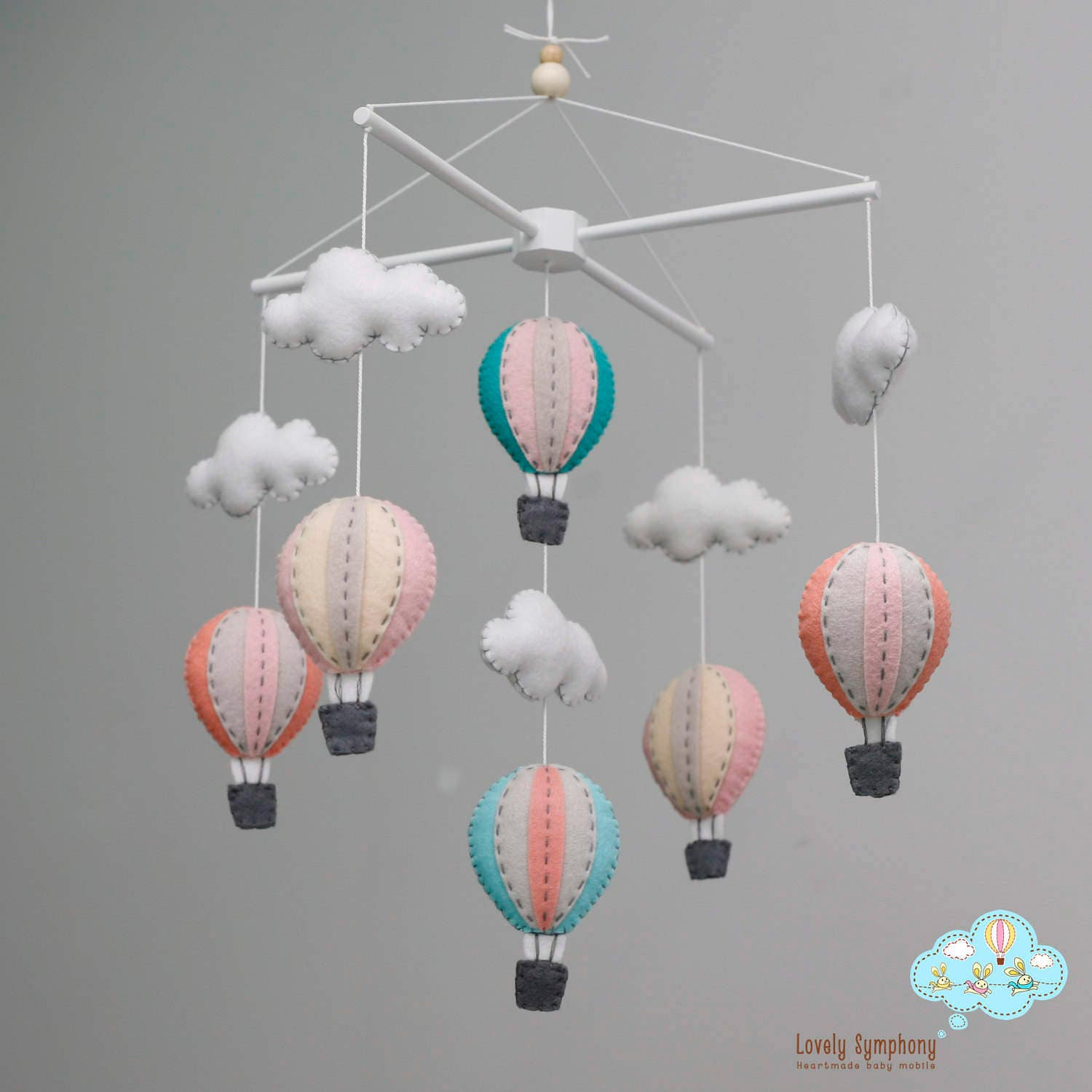 pastel hot air balloons baby mobile baby mobile peach blue