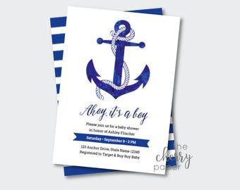 INSTANT DOWNLOAD Ahoy it's a Boy, Baby Shower,Invitation, Invite, Ocean, Beach,Summer,Anchor,Nautical,sailor,Printable,baby boy,blue,water