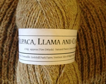 Blend of Alpaca Llama and Castlemilk moorit 4ply wool