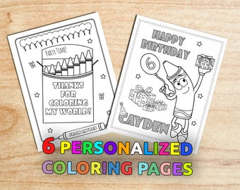 Crayon Birthday Party Coloring Pages, Colorful Birthday, Gift bag, Art Birthday, Party favors, Personalized, Printable, Digital, PDF