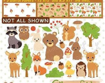 Woodland Clipart, Woodland  digital clip art, Forest animal clipart, cute woodland clip art and digital paper set, Wild art-instant download