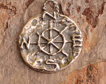 Artisan Compass Charm // Sterling Silver Compass //  Find Your True North