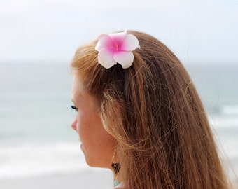 Pink Plumeria,  Flower Hair Clip,  Hawaii Hair Accessory, Plumeria Hair Clip, Hair Clips