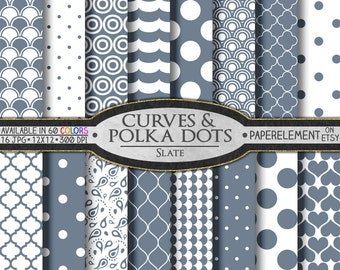 Slate Grey Polka Dot Digital Paper: White and Gray Geometric Paper Digital - Printable Gray and White Backgrounds Curvy Scrapbook Patterns