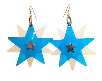 Star Bright Earrings - Blue Star Shaped PVC Earrings - White Crystal Centre with Silver Plated Earring Fish Hooks