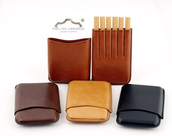 Cigarette case for 6 cigarettes in four colors to choose from, Leather cigarette case
