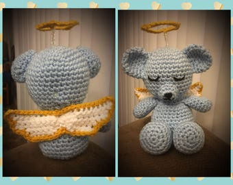 Crochet teddy bear with halo and wings