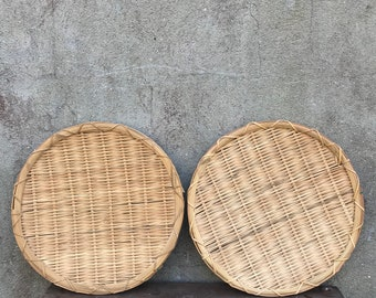 Vintage Set Of Two Woven Wall Baskets