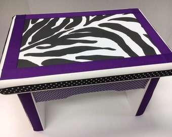 Little Girl's Bench- Zebra and Purple- no personalization