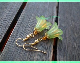 Green Tulip earrings