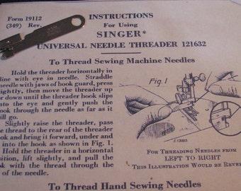 Singer universal needle threader no. 121632 plus photocopy of instructions