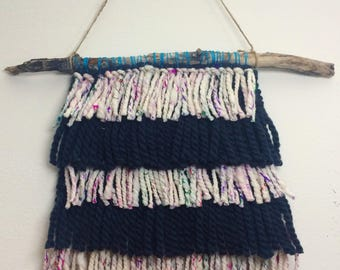 Handspun Yarn Black and White Bohemian Tapestry Fringe Wall Hanging with Sari Silk- Free Shipping!