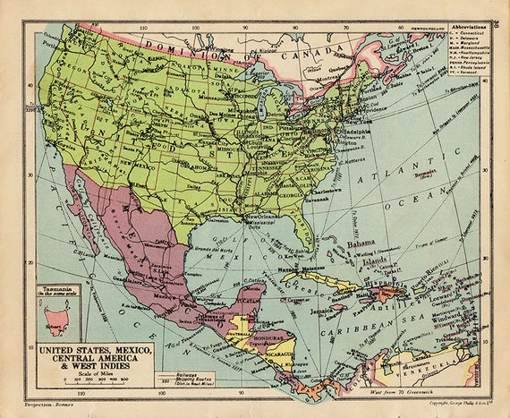 united states of america and mexico map 1940s countries