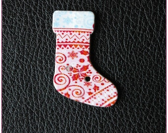 Christmas socks pattern wooden buttons 01 x 1