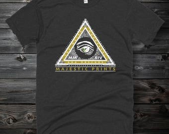 Majestic Pyramid Logo Vintage Style T Shirt - Slim Fit Hipster Shirt - American - Unisex Apparel - 50/50 Logo Tees
