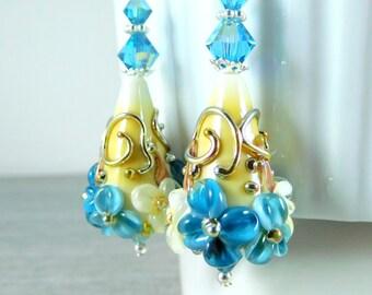 Blue White Ivory Floral Dangle Earrings, Botanical Earrings, Garden Wedding, Cottage Chic, Flower Jewelry, Lampwork Glass Earrings, Nature