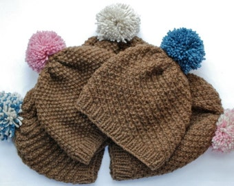 Hand knitted Manx Loaghtan wool bobble hats (beanies)
